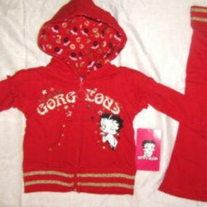 Rare Betty Boop 2 Pc Red Hooded Sweatsuit Set